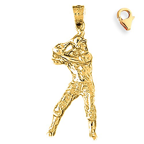 Jewels Obsession Baseball Player Pendant | 14K Yellow Gold Baseball Player Charm Pendant - 34mm