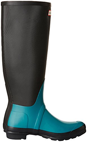 Hunter Stivale In Gomma Wmn Orig Ribbed Leg Nero/Turchese EU 39 (UK 6)