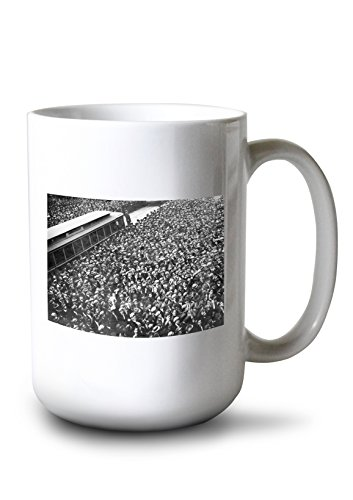 (Lantern Press Scoreboard Watching, Giants and A's World Series, Baseball Photo (15oz White Ceramic Mug))