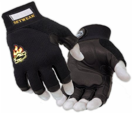 SetWear Genuine Leather Fingerless Gloves, Pair Small (Size 8) Approximatly 3-3.5