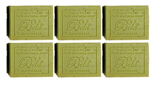 Lemongrass Moisturizing Bar Soap - Bela Pure Natural Soaps Triple French Milled Moisturizing Natural Soap Bars - Lemon Myrtle with Lemongrass - Made in Australia - Holiday Gifts for Him/Her- 6 pack (3.5 oz each)