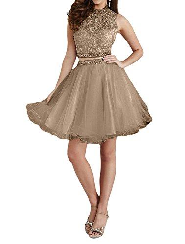 Abendkleider Promkleider Elfenbein teilig Marie Kurz Dunkel Braut Mini Romantisch Partykleider Zwei La Spitze Champagner A Linie Tuell wA8xxSn