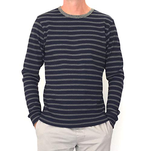 (Kit Culture Mens Striped Waffle Knit Stretch Thermal Long Sleeve Shirt-Sustainably Made in The USA (Navy-Charcoal Striped, Large))
