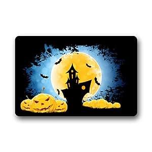 """Decoraciones de Halloween casa calabaza y calabazas–entrada libre–Tejido 23.6""""(L) X 15,7(W) máquina para uso en interior/exterior/ducha/baño Felpudo"""