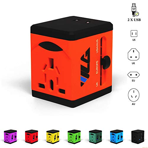 VLG All in One Universal Travel Power Adapter - Dual USB Charging Ports - USA EU UK AUS - Reliable Worldwide Travel Сompanion (Tangerine - All One In Phone Accessories