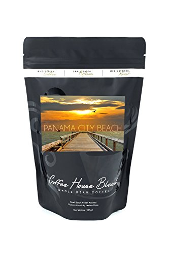 Panama City Beach, Florida - Pier at Sunset (8oz Whole Bean Small Batch Artisan Coffee - Bold & Strong Medium Dark Roast w/ - Florida City Pier Park Panama Beach