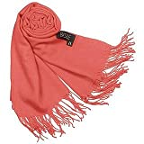 Basile Fringed Solid Wool And Cashmere Pashmina Shawl Coral