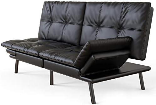 Amazon Com Milemont Futon Sofa Bed Memory Foam Couch Sleeper Daybed Foldable Convertible Loveseat Single Black Furniture Decor