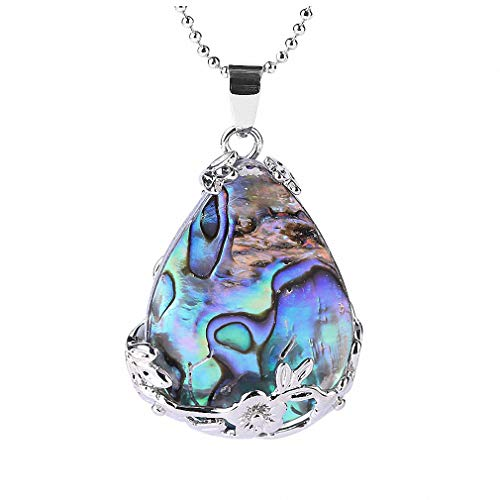 (Xileg New Zealand Abalone Mop Shell Alloy Teardrop Pendant Bead Natural Gem Water Drop Paua Necklace Women Men Reiki Jewelry E460 )