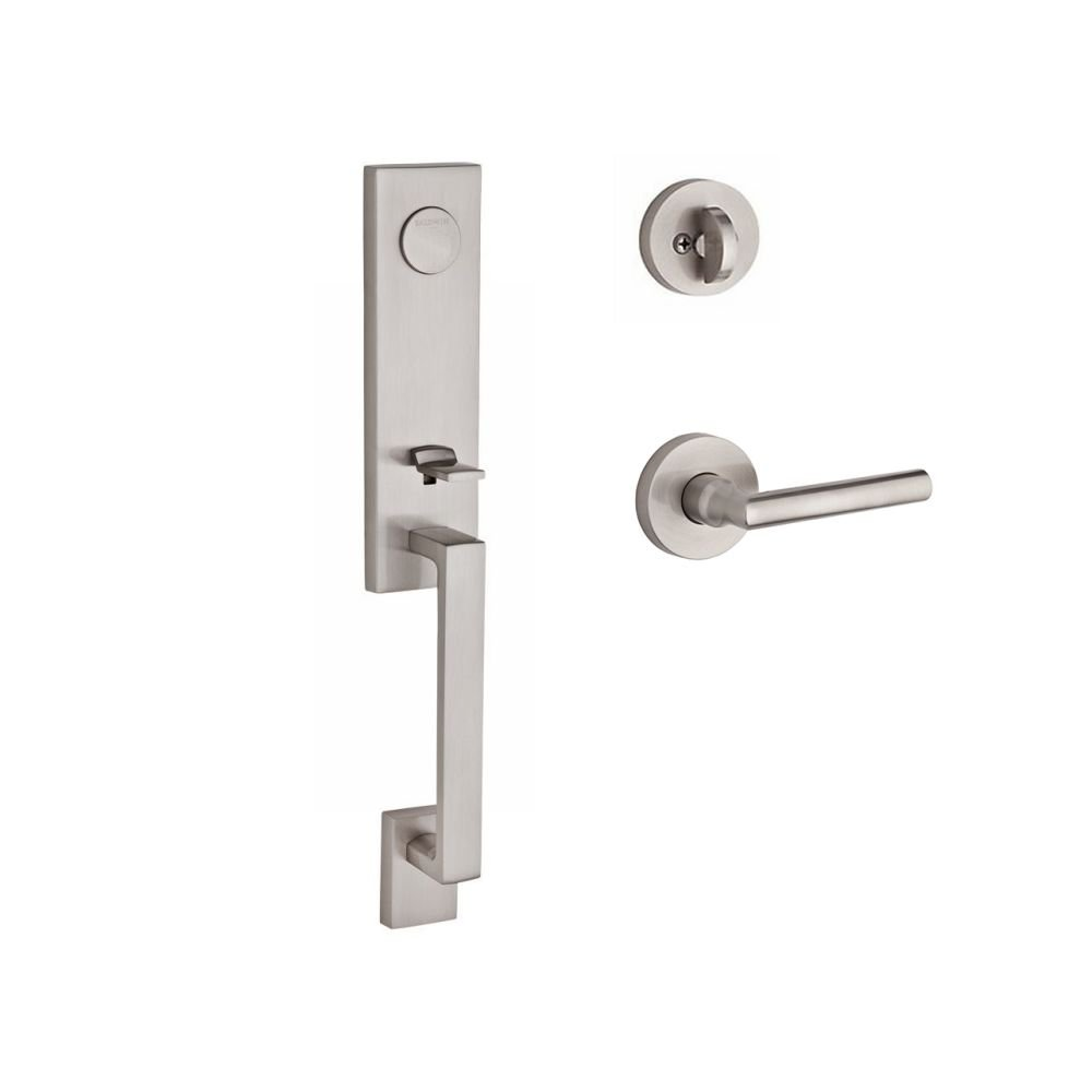 Baldwin FDSEAXTUBRCRR150 Reserve Full Dummy Handleset Seattle x Tube with Contemporary Round Rose in Satin Nickel Finish Right Hand