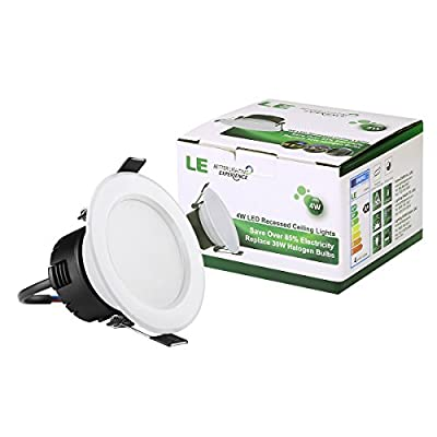 LE® Pack of 4 Units 4W 3-Inch LED Recessed Lighting, 30W Halogen Bulbs Equivalent, 210lm, Warm White, 3000K, 90° Beam Angle, Recessed Ceiling Lights, Recessed Lights, LED Downlight