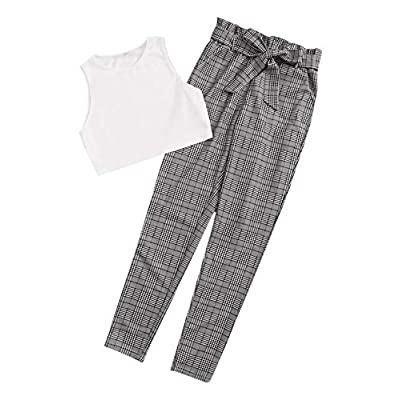 Milumia Women 2PCS Set Outfit Sleeveless Round Neck Crop Tank Top and Self Belted Pocket Plaid Pants: Clothing