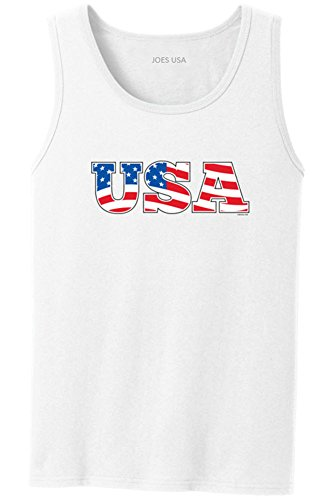 Blue Logo Tank - Joe's USA Red White & Blue USA Flag Logo Tank Top-White/c-L