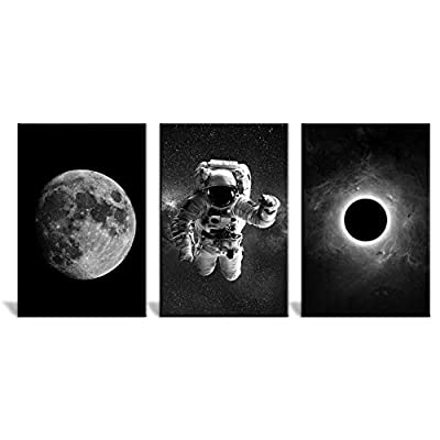 Dazzling Expert Craftsmanship, 3 Panel Space Theme with Astronaut and The Moon in Black and White x 3 Panels, Quality Artwork