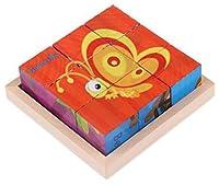 木製キューブパズル 面白い子供木製キューブパズル 木製トレイ付き 1セットの6個のパズル (9個)#17の商品画像