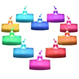Homemory 12 Pack Color Changing LED Tea Lights, Flameless Tealight Candles, Battery Operated Fake Candles, Decorations Love, Party, Christmas, Halloween