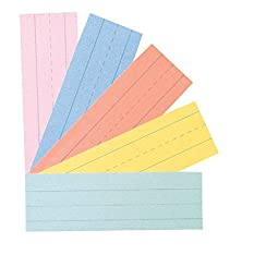 School Smart Ruled Sentence Strips - 3 inch x 24 inch - Pack of 100 - Assorted Colors