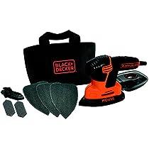 Black and Decker KA2000 - Lijadora de detalles con 6 accesorios, 120 W, 230 V, color negro y naranja