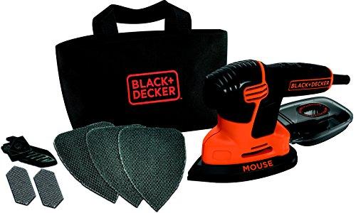 Black + Decker 120W Compact Mouse Schleifer, Staubfangbehälter mit Mikrofilter, Klett-Fix, in Werkzeugtasche, KA2000