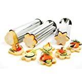 "Norpro Set of 3 Bread Canape Tube/Mold 8.75""x 3"" Heart/Star/Flower Appetizers"