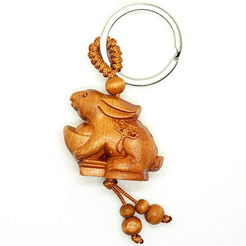 Rabbit Chinese Zodiac - Handmade 3D Chinese Zodiac Rosewood Amulets Lucky Charm Crafted at Thai Temple (Rabbit)