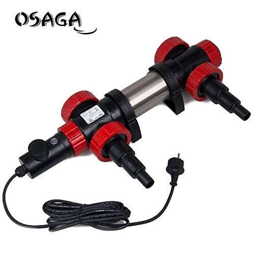 OSAGA OTH 2 KW - Teichheizung mit Thermostat, Profi Heater Edelstahl Teichheizer, regelbar 0 - 40C°