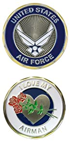 """United States Military US Armed Forces Air Force """"I Love My Airman"""" - Good Luck Double Sided Collectible Challenge Pewter Coin"""