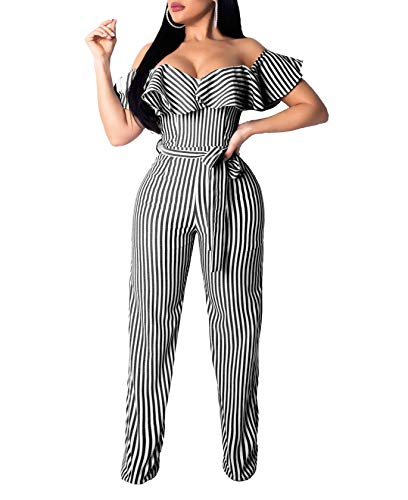 Ophestin Women Sexy Striped Off Should Ruffle Bandage High Waist Wide Leg Long Pants Jumpsuits Rompers with Belt Black S