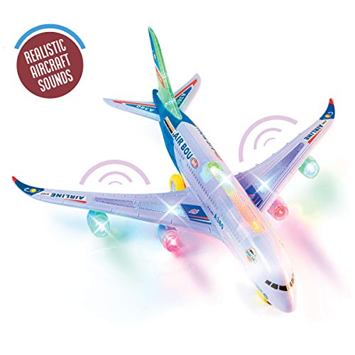 Top Race A380 Airplane Toys for 1 2 3 4 5 6 7 Years Old and up Plane Toy Model with Lights and Music, Bump and Go Airpalne Toy for Boys and Girls...