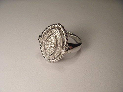 Stunning Etruscan Estate 14K White Gold Pave Diamond Marquise Ring Band ()