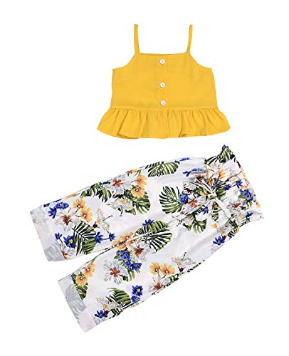 VISGOGO 1-6 Yrs Toddler Baby Kid Girl Outfit Halter T-Shirt Top + Flared Pants Clothes Set (Yellow-2, 5-6 Years)]()