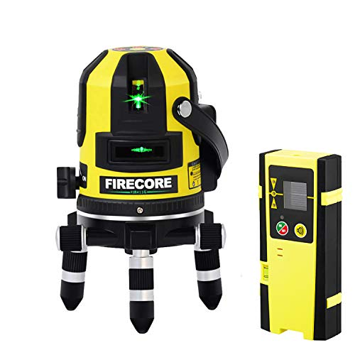 Firecore FIR411G Lithium-Ion Self-Leveling 165 Feet Outdoor Green Beam Multi-Line Laser with Plumb Point and Detector
