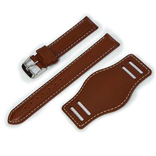 (CASSIS Type NATO Protector 2 Leather Cuff Watch Strap with Waterproof Back Lining 18mm White Stitched Gold Brown with Tool U1023050841018M)
