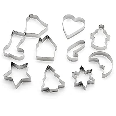 New Arrival 10 Piece Stainless Steel Cookie Cutter Christmas Star Heart Tree Sock Shape Mold Biscuit