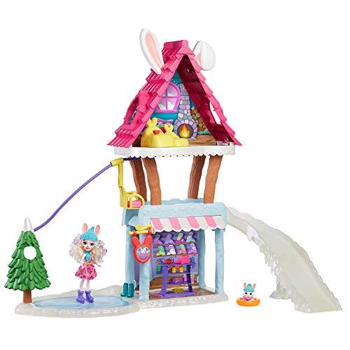 Enchantimals Hoppin' SKI Chalet con Bevy Bunny Y MUÑECAS Jump