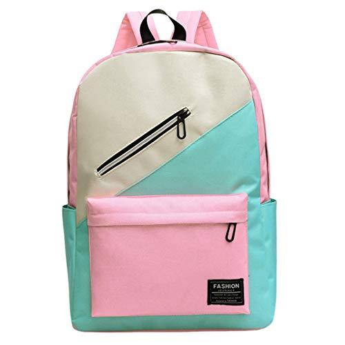 Lightweight Backpack for School Nylon School Bag Hit Color Students Shoulder Bag ()