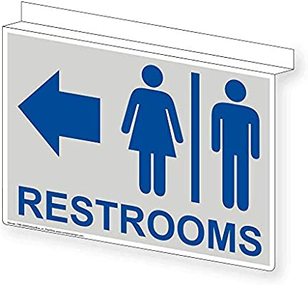 Restrooms Ceiling Sign Projection-Mount 14x10 in Aluminum for Bathrooms by ComplianceSigns