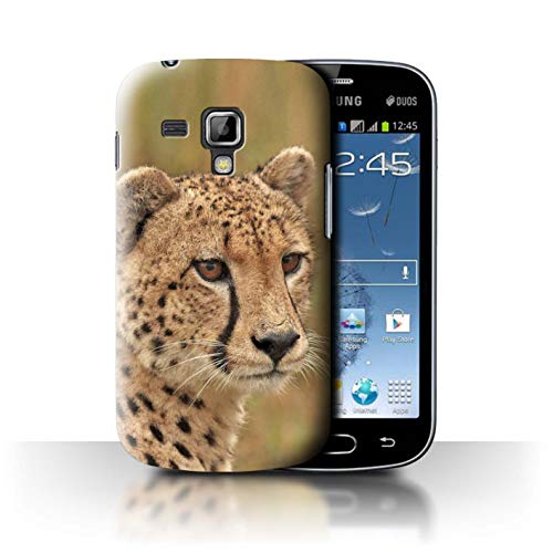 Phone Case for Samsung Galaxy S Duos 2/S7582 Wild Big Cats Cheetah Design Transparent Clear Ultra Slim Thin Hard Back Cover