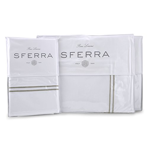 Sferra Grande Hotel Sheet Set - King - White/Grey from Sferra