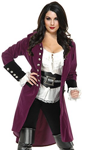 Women's XL 14-16 Plumberry And Black Pirate Vixen Costume Long Jacket Coat -