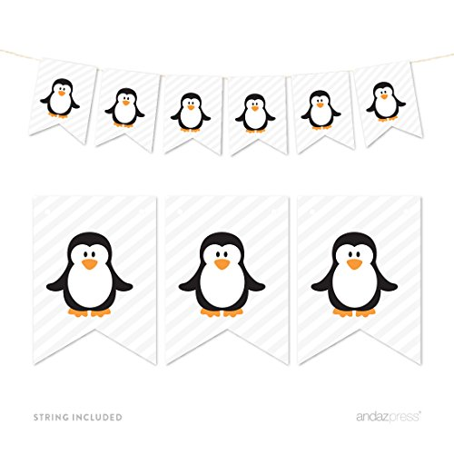 Andaz Press Hanging Pennant Party Banner with String, Arctic Penguin, 9-Feet, 1-Set, Decor Paper Decorations, Includes String