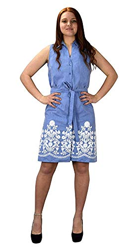 Peach Couture Button Up Dainty Floral Embroidered Chambray Dress (XL) Denim Blue