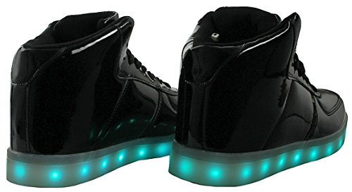 Vrouwen High / Low Top Pu Lederen Led Licht Mode Knipperende Usb Oplaadbare Sneaker Schoenen Black_80