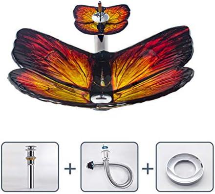 浴室の芸術的な容器の流し、現代緩和されたガラスの容器の流し、蝶形の容器の虚栄心の浴室の流し、下水の穴の直径:45mm,B