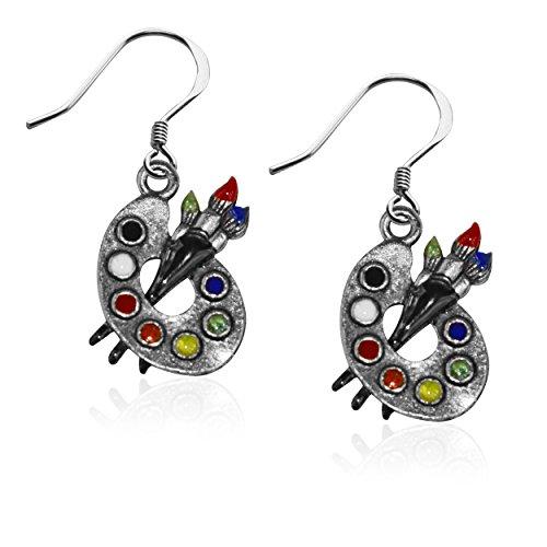 Whimsical Gifts Artist Charm Earrings (Artist Palette,