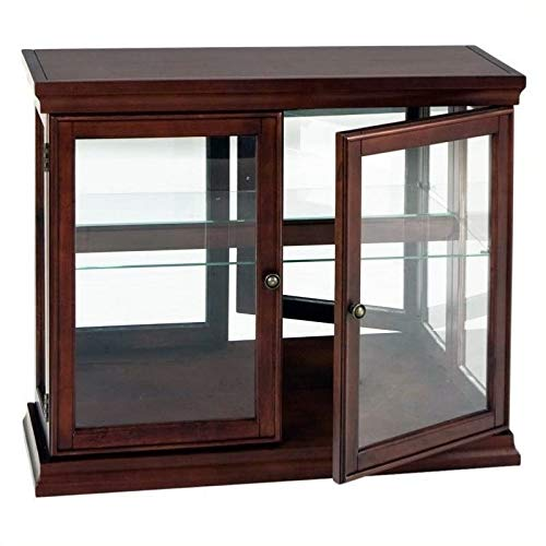 (Pemberly Row Mahogany Curio Console Sofa Table with Glass Doors, Glass Shelf)