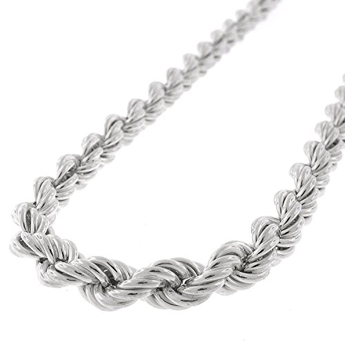 Sterling Silver 6mm Hollow Rope Braided Link 925 Rhodium Twisted Chain Necklace 20