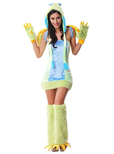 [RedExtend Deluxe Furry Dragon Monster Halloween Costume Rave Party Dress] (Catwoman Deluxe Costume Secret Wishes)