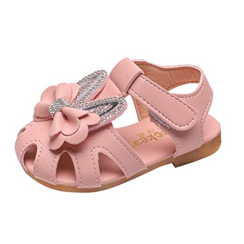 (Girls Bowknot Sandals Summer Cute Ear Closed Toe Ankle Strap Dress Sandals for Toddler Little Kids Flat Shoes Pink)