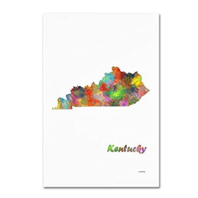 Trademark Fine Art MW0288-C1219GG Kentucky State Map-1 by Marlene Watson